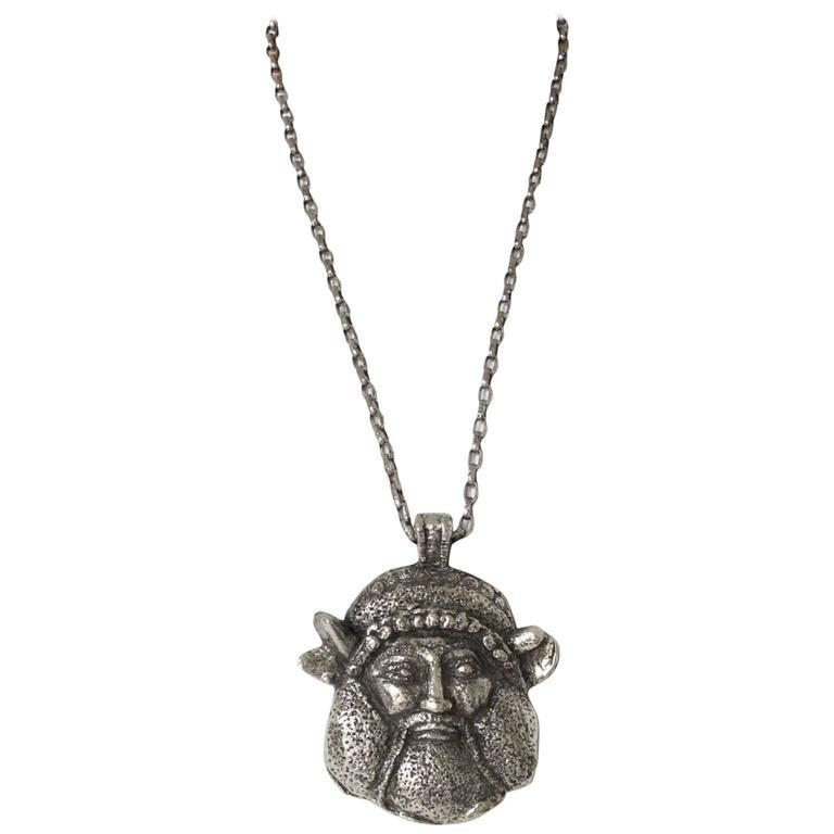 Guy Laroche Modernist Silvertone Massive Antique God Medallion Necklace 1