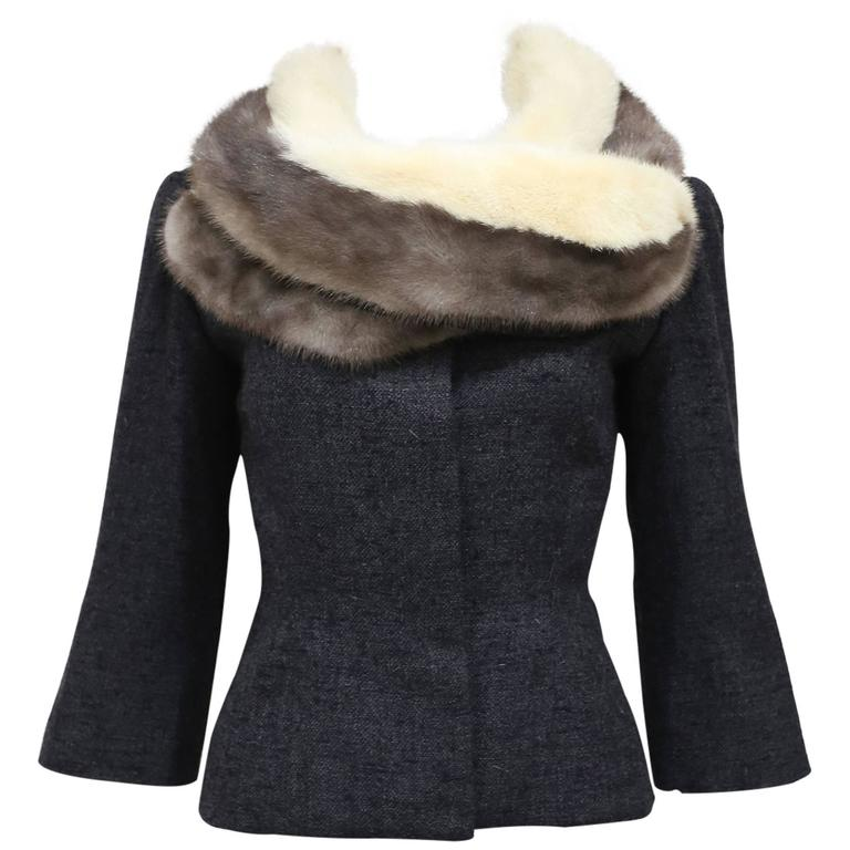 Jeanne Lanvin by Castillo tailored woollen jacket with mink fur scarf, c. 1950s For Sale