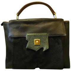80's Vintage HERMES business portfolio bag, president in calf, suede, lizard.
