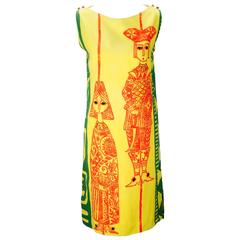 1970's Wamsutta Mills Yellow Printed Mini Dress