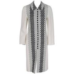 1990's Carolina Herrera Black White Embroidered Deco-Circles Linen Coat Jacket