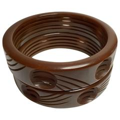 1930's Art Deco Brown Bakelite PAIR of Cut-out Unusual Bangle Bracelets