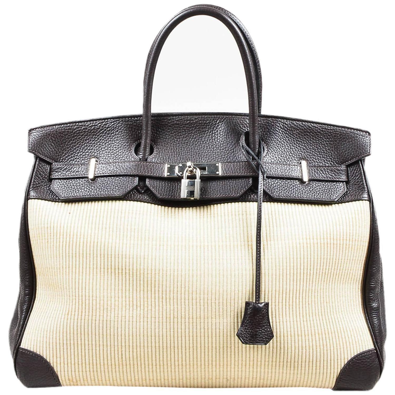 2972daf0e7a9 Hermes SHW Brown Togo Leather and Natural Crinoline 40 cm Birkin .