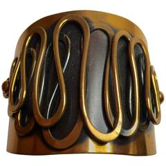 1950's Modernist REBAJES Copper Wide Cuff Bracelet.