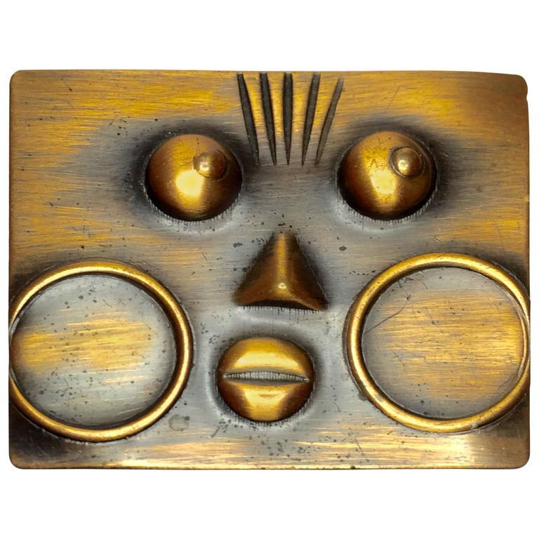 1950's REBAJES Copper Ubangi Rectangular brooch For Sale