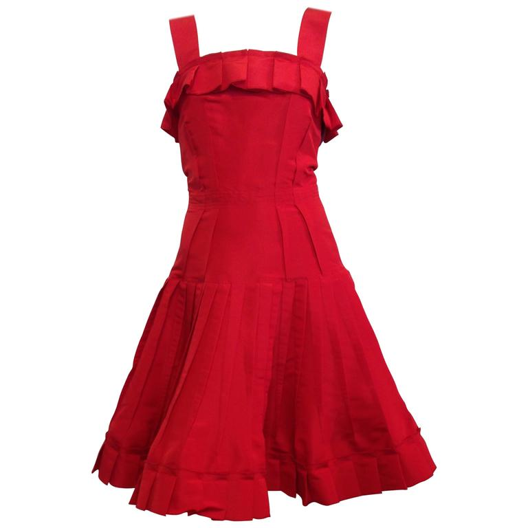 Oscar de la Renta Red Silk Dress with Ruffles 1