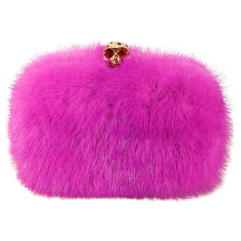 Alexander McQueen Skull-Clasp Mink Box Clutch Pink For Sale