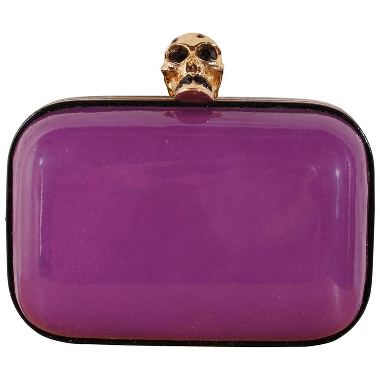 Alexander McQueen Skull Box Clutch - purple patent leather 1