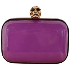 Alexander McQueen Skull Box Clutch - purple patent leather