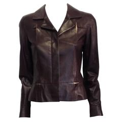 Chanel Burgundy Leather Jacket with Rose Gold Insets