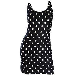 Vintage Geoffrey Beene Neiman Marcus Black and White Polka Dot Mini Linen Dress