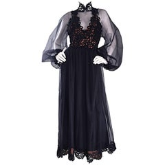 Fabulous Vintage Werle of Beverly Hills Demi Couture Black Crochet Dress / Gown