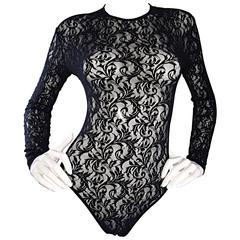 Vintage Calvin Klein 1980s Black Lace Sexy Long Sleeve 80s Bodysuit Onesie