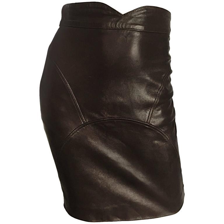 Jean Claude Jitrois Vintage Chocolate Brown Leather Sexy BodyCon 90s Mini Skirt
