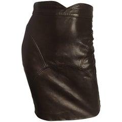 90s Jean Claude Jitrois Vintage Chocolate Brown Leather Sexy BodyCon Mini Skirt