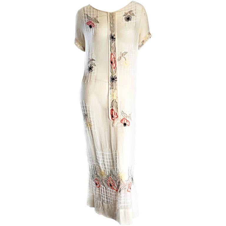 Rare 1920s B Altman Haute Couture Ivory Hand Beaded Cotton Voile Vintage Dress 1