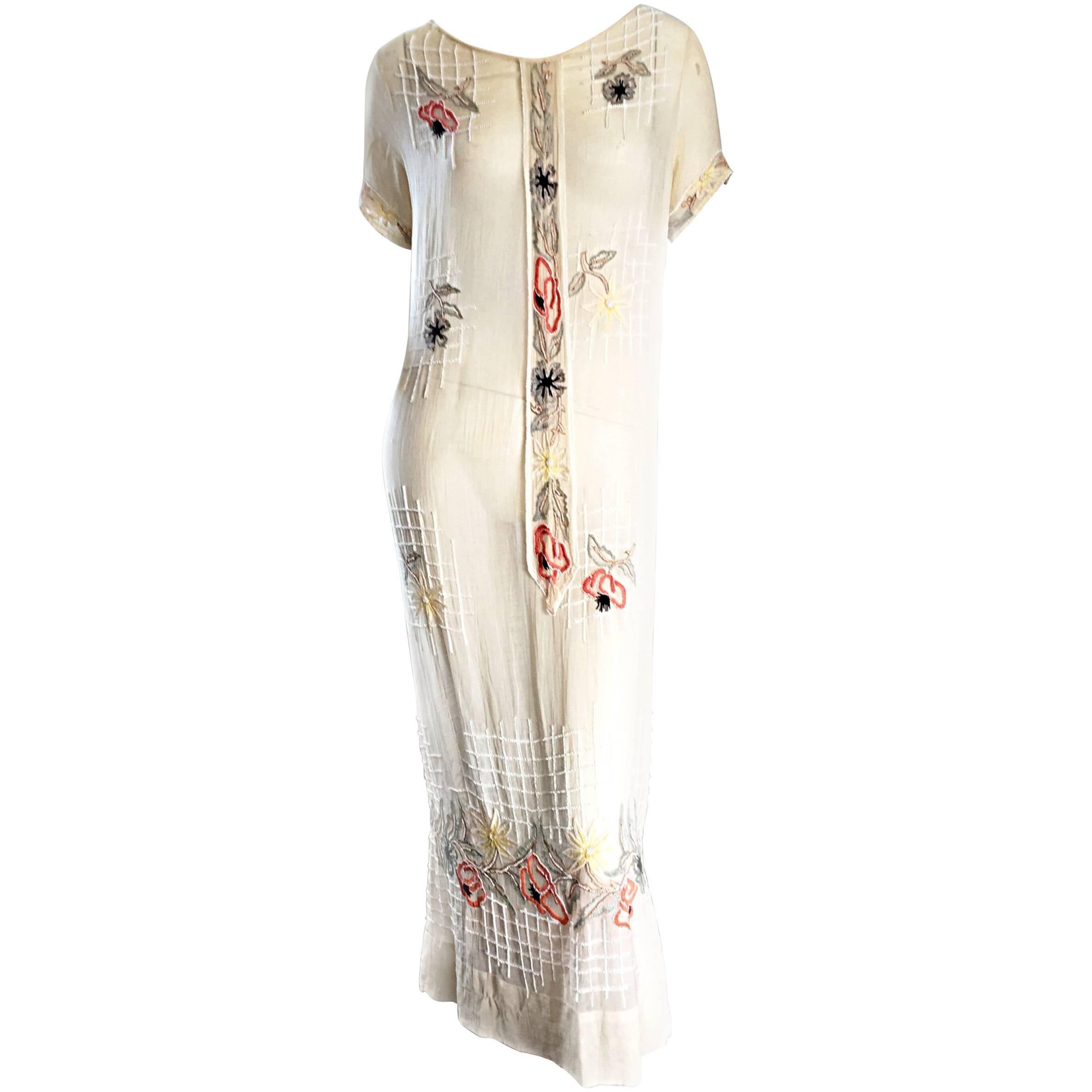 Rare 1920s B Altman Haute Couture Ivory Hand Beaded Cotton Voile Vintage Dress