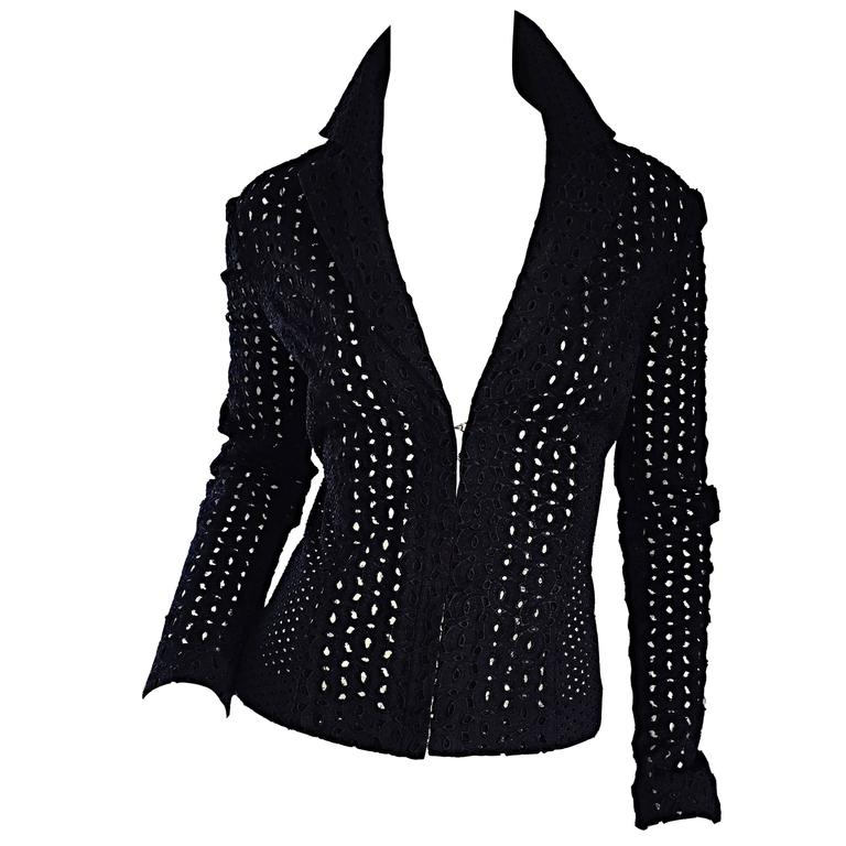 Vintage Gianni Versace Couture Black Eylets Fitted 1990s 90s Blazer Jacket