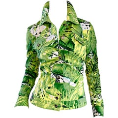 Amazing New ESCADA Green + White ' Palm Trees ' White Denim Jacket