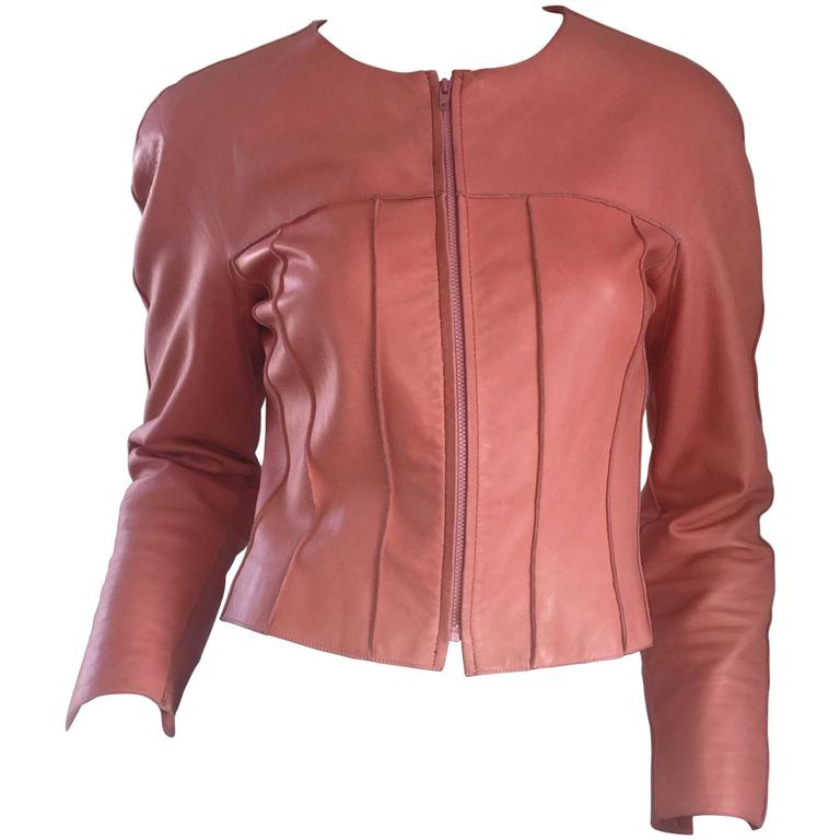 Chanel Pink Leather Jacket Spring Summer 1999 Rare Vintage Runway Piece  1