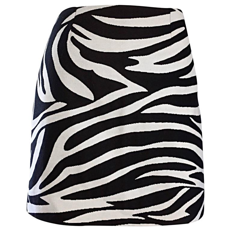 Brand New Celine by Phoebe Philo Black and White Zebra Print A - Line Mini Skirt