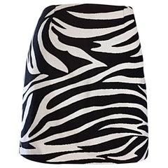 Brand New Celine by Phoebe Philo Black and White Zebra Print A - Line Mini Skirt