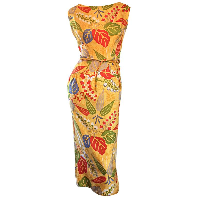 1950s Adele Simpson Vintage ' Leaves + Flowers ' Yellow Colorful Silk 50s Dress
