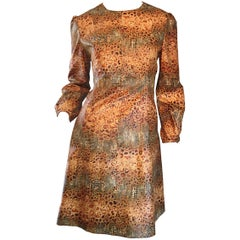 1960s Alligator + Snake Reptile Print Vintage A - Line 60s Brown Mod Dress