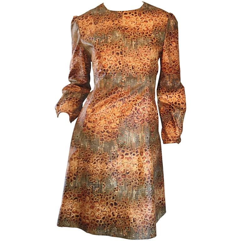 1960s Alligator + Snake Reptile Print Vintage A - Line 60s Brown Mod Dress For Sale