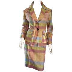 Christian Lacroix 1990s 90s Asymmetrical Plaid Pastel Vintage Skirt Suit