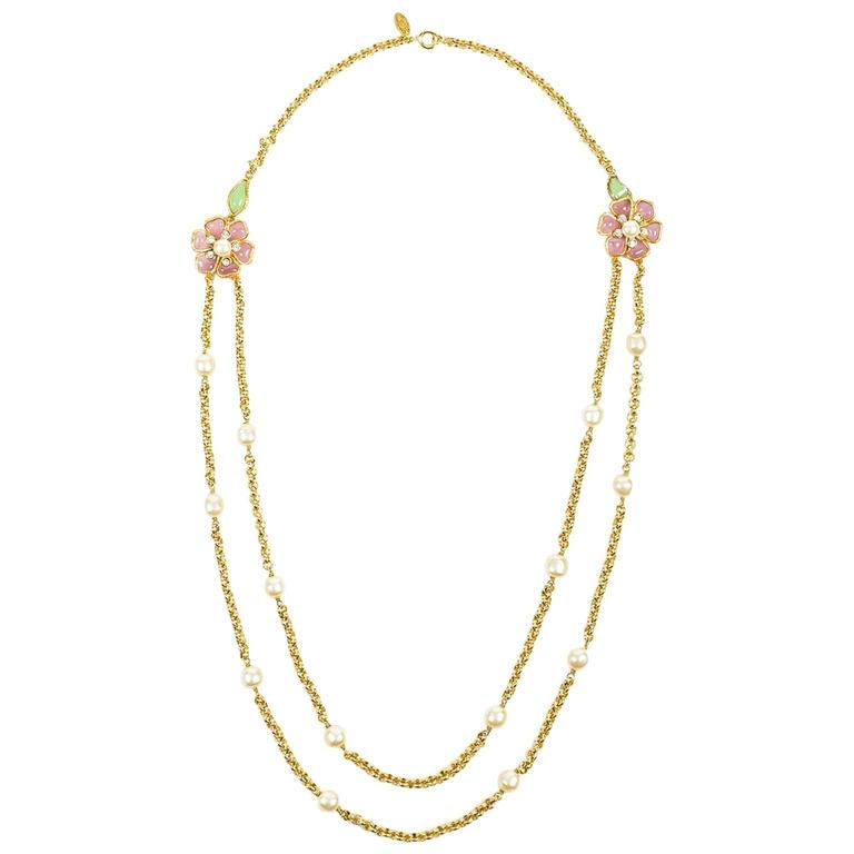 Vintage Chanel Gold Tone Pink Green Gripoix Faux Pearl Flower Chain Necklace 1