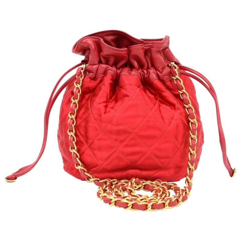Chanel Rare Vintage Red Leather Satin Gold HW Bucket Evening Shoulder Bag 1