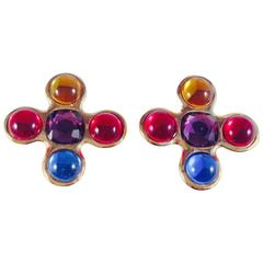 Yves Saint Laurent YSL Cross Clip On Earrings 1980s