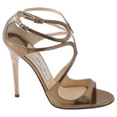 "Jimmy Choo ""Lang"" Metallic Gold Sandals"
