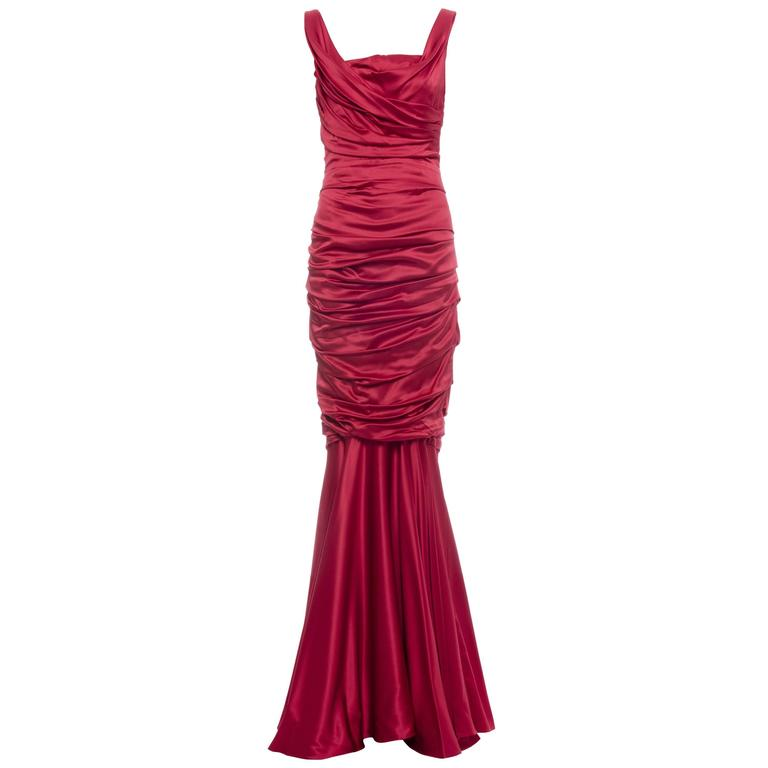 Dolce & Gabbana Red Silk Evening Dress 1