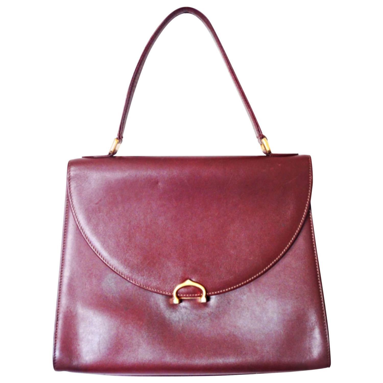 vintage cartier style wine leather handbag les must
