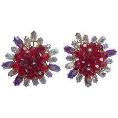 SCHIAPARELLI Faux Ruby and Auroral Borealis Rhinestone Elaborate Earrings