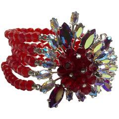 1950s SCHIAPARELLI  5-strand Faux Ruby Bracelet with Elaborate Stonework Clasp