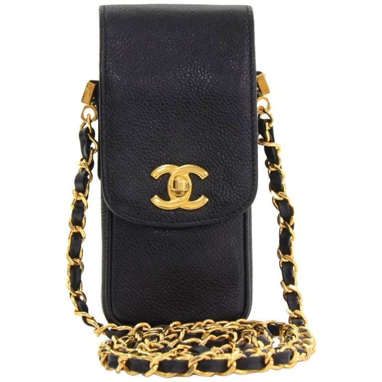 Chanel Black Caviar Leather Shoulder Case Bag