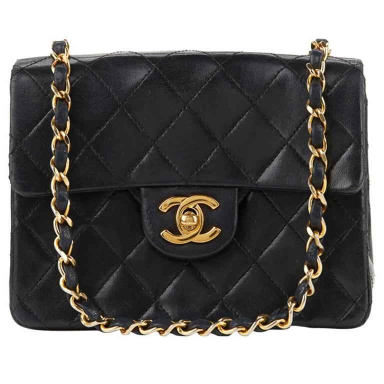 1980s Chanel Black Quilted Lambskin Vintage Mini Flap Bag For Sale