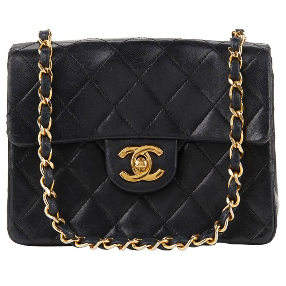 cbf2760ccae9 1980s Chanel Black Quilted Lambskin Vintage Mini Flap Bag at 1stdibs