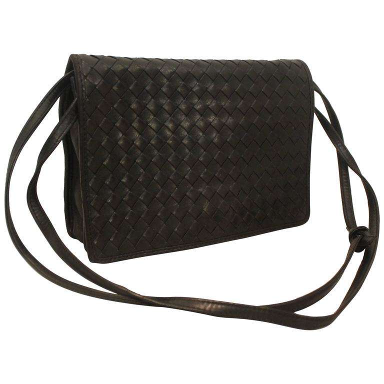 Bottega Veneta Vintage Black Woven Leather Crossbody Bag - circa 80 s at  1stdibs 892c7134caab2