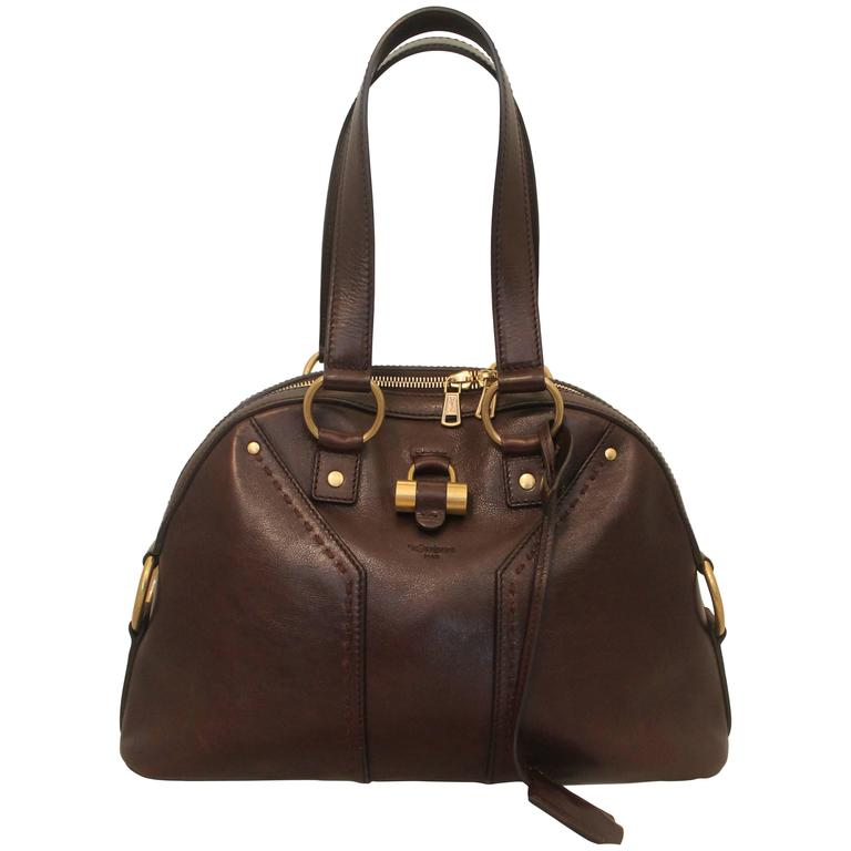 Ysl Rive Gauche Brown Leather Sac Muse Bag Ghw