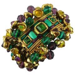 Kalinger Vintage Massive Opulent Jewelled Cuff Bracelet Circa 1980