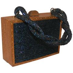 Evans Navy & Gold Vintage Beaded & Metal Rectangular Handbag - Circa 1950's