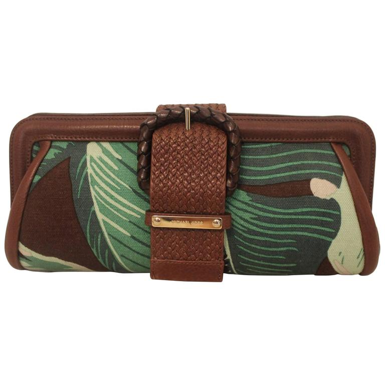Michael Kors Green & Brown Tropical Print Clutch  1