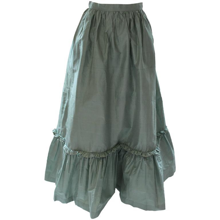 1980s Vintage Oscar de la Renta Gingham Ball Skirt  For Sale