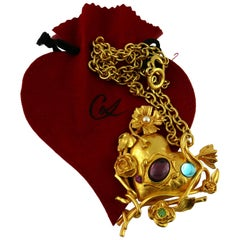 Christian Lacroix Vintage Rare Jewelled Heart and Mirror Pendant