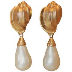 Ben Amun Gold Vintage Gold Seashell & Pearl Drop Earrings - circa 1980's