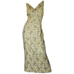 Fitted 1950s Heavily Beaded Gold & Green Mignon Dress